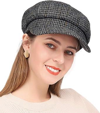 PanPacSight Damen Newsboy H/üte Herbst Wolle Cabbie Baskenm/ütze Tweed M/ädchen Paperboy Cap