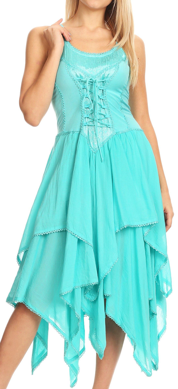 Sakkas 9031 Corset Style Bodice Jaquard Lightweight Handkerchief Hem Dress - Aqua - One Size