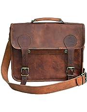 63a89f0ca1fb7 33 cm Hecha a mano Marron elegante Vintage Bolso de cuero del mensajero  cada día Bolso