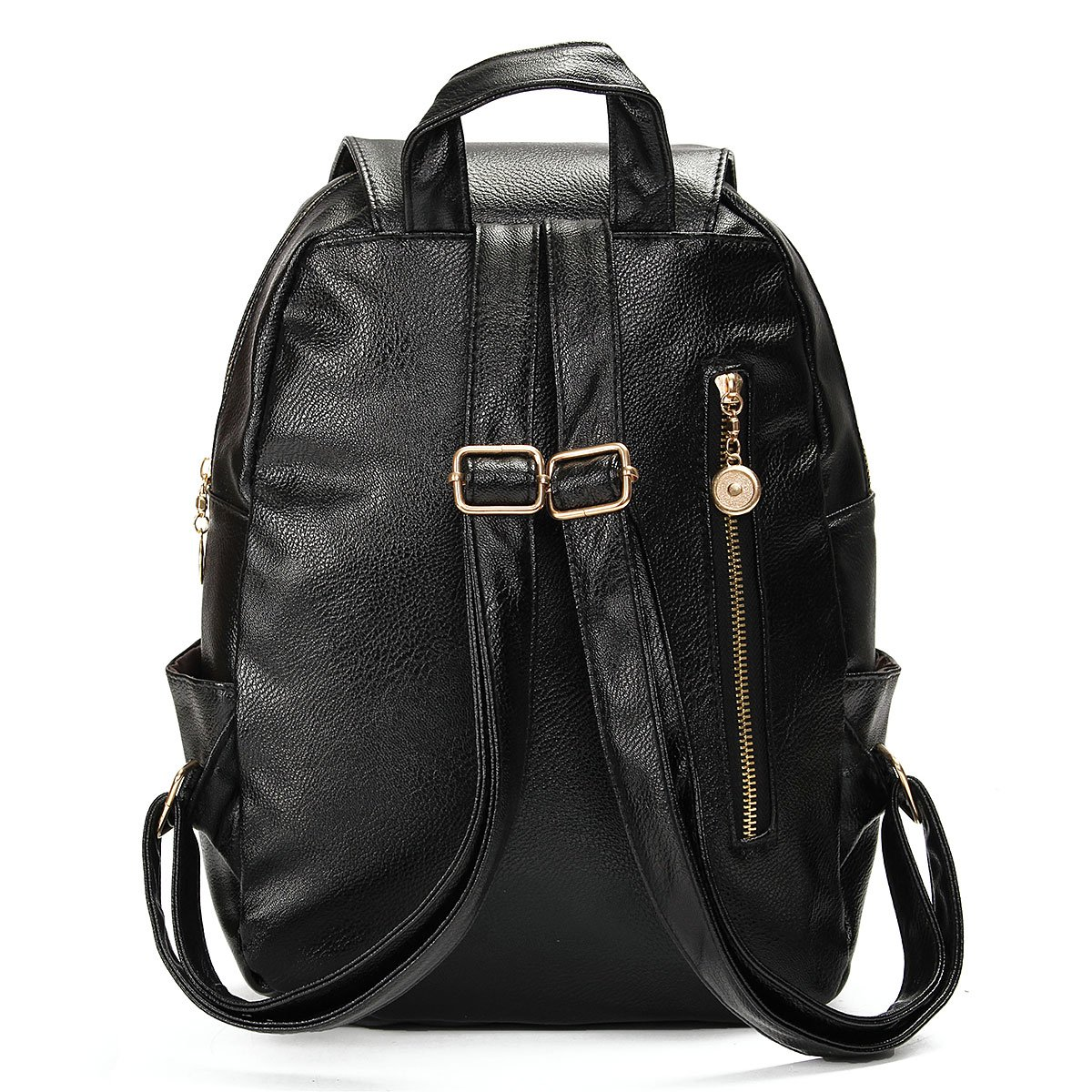 69c7d8d2492d Amazon.com  OURBAG Vintage PU Leather Backpack School College Bookbag Laptop  Satchel Bookbag Black  Clothing