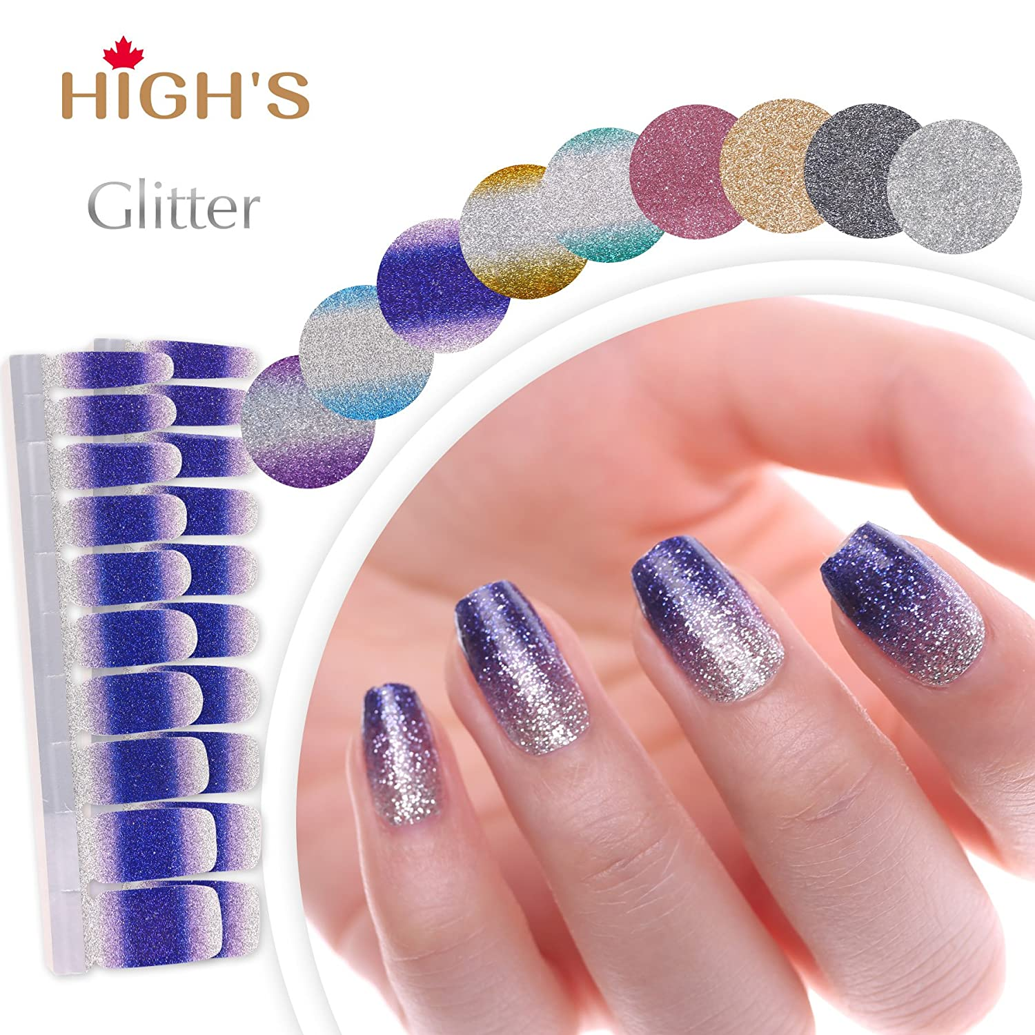 HIGH'S Glitter Series The Cocktail Collection Manicure Nail Polish Strips Nail Wraps, Hawaii HIGH' S