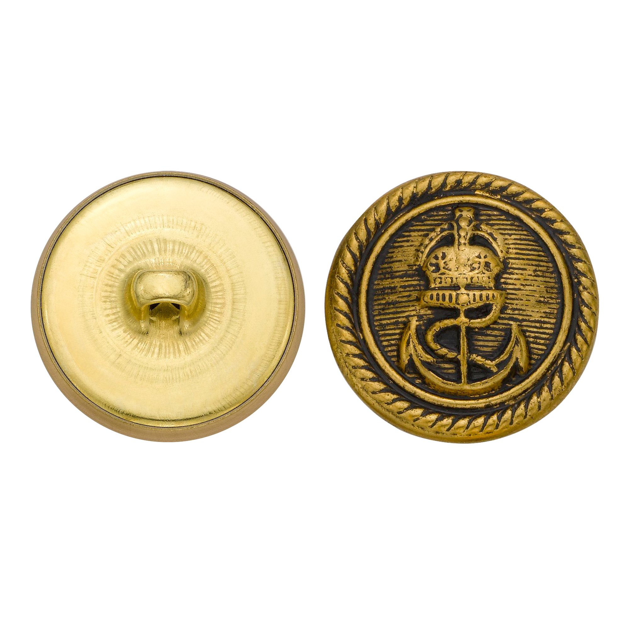 C&C Metal Products 5269 Royal Anchor Metal Button, Size 36 Ligne, Antique Gold, 36-Pack