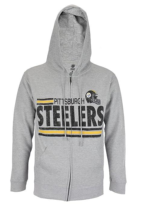 Pittsburgh Steelers NFL Men s  quot Across the Middle quot  Full Zip Fleece  Hoodie ... 58fbba757