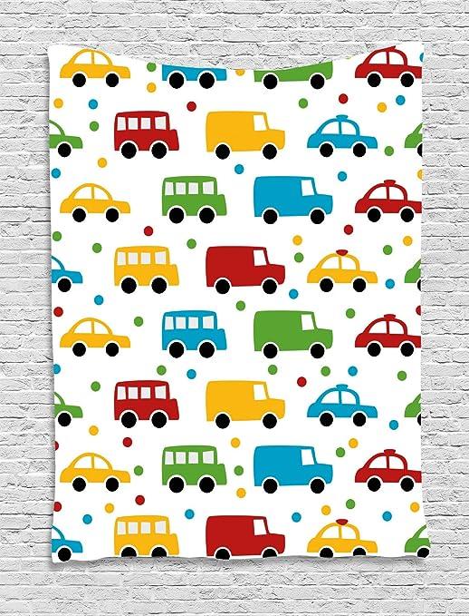 ABAKUHAUS Coches Tapiz de Pared, Vivid Automóviles Bus Taxi, para ...