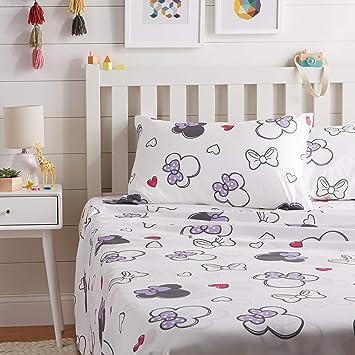 AmazonBasics by Disney Minnie Mouse Purple Love Bed Sheet Set, Full