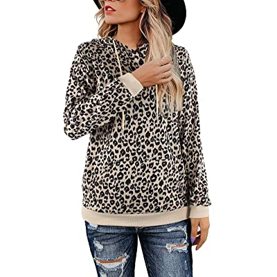 Youdiao Women's Casual Leopard Print Tops Crew Neck Sweatshirt Basic Hoodies Pullover at Women's Clothing store