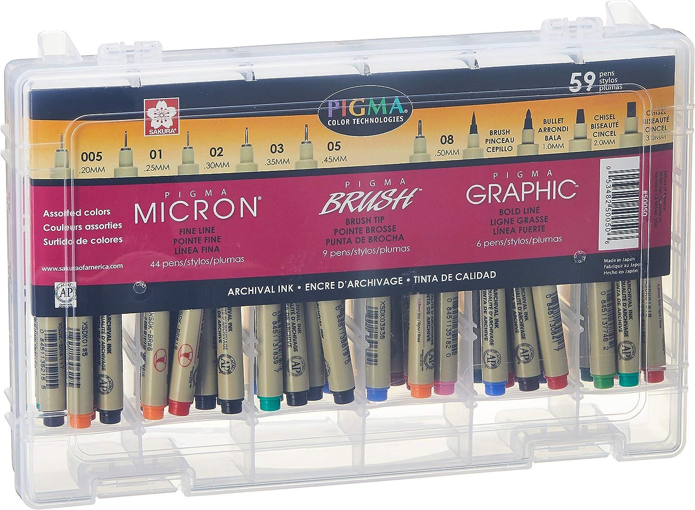 Sakura Pigma Micron Fineline Pen Artist Set, 59CT, Ass't Colors, 59 Count