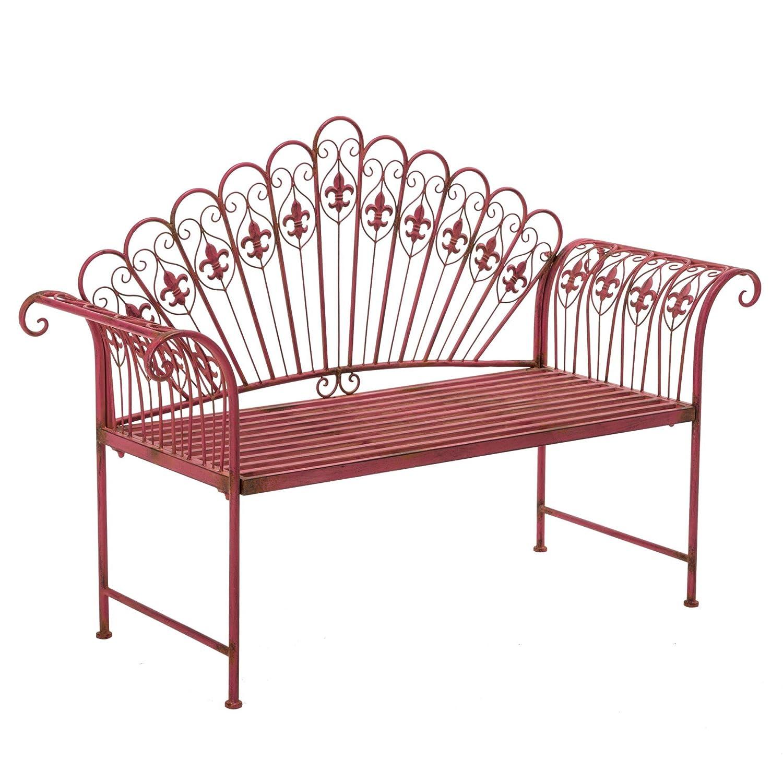 Gartenbank Sitzbank 2-Sitzer Eisen Pink Vintage-Look online bestellen