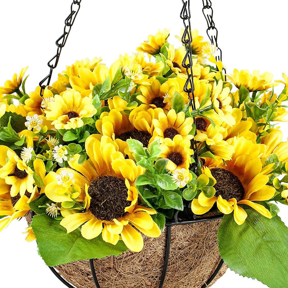 Ibeutes 78 Inch Artificial Hanging Flower Sunflower Fake Flower