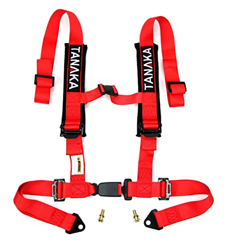 Tanaka Phantom Series Buckle 4 Point Safety Harness Set with Ultra Comfort Heavy Duty Shoulder Pads (Red)