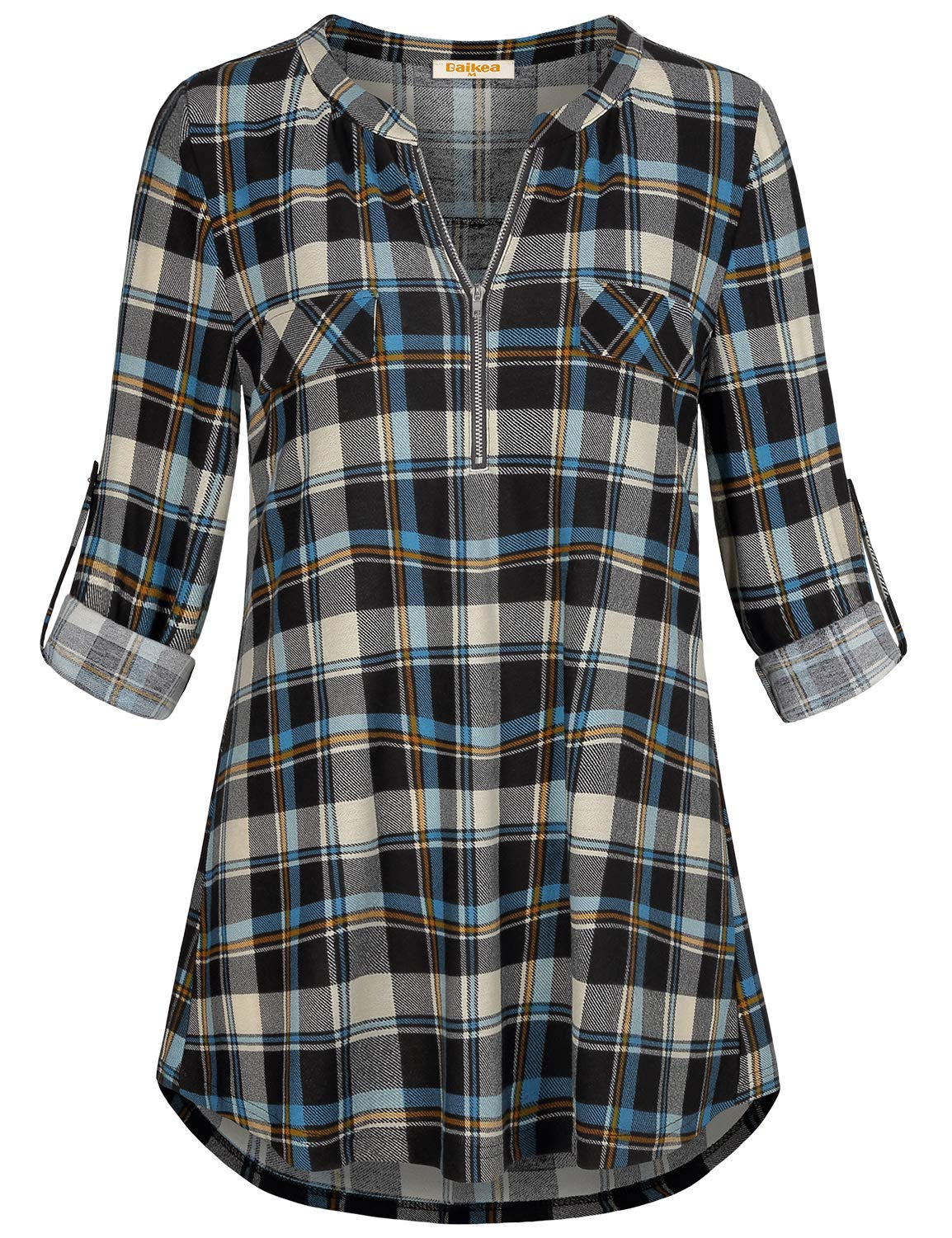 Baikea Notch Neck Shirt for Women, Ladies Retro Style Career Clothes Comfy Henley Mandarin Collared 3/4 Cuffed Long Sleeve Plaid Top to Wear with Leggings Maternity Checkered Blouses at Home Blue XXL