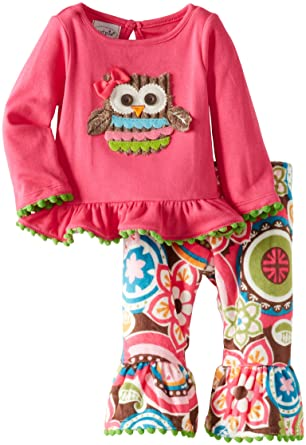 e3cb1adaf5d Amazon.com  Mud Pie Baby-Girls Newborn Owl Minky Pant Set