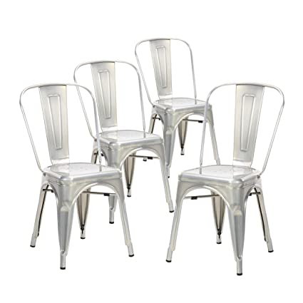 Genial Buschman Set Of Four Galvanized Tolix Style Metal Indoor/Outdoor Stackable  Chairs With Back