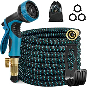 25ft Expandable Garden Hose - Leakproof Flexible Water Hose with 10 Way Nozzl, 4 Layer Latex Core, 100% Solid Brass Fittings, Lightweight Hose for Watering and Washing (Blue Black)