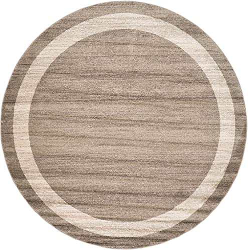 Unique Loom Del Mar Collection Contemporary Transitional Light Brown Round Rug 8' 0 x 8' 0