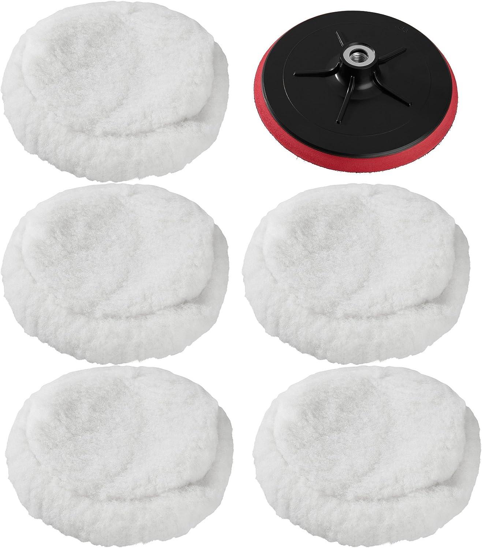 Tectake 5x Polierfell 220mm Für 180mm Klettteller 180mm Klettteller Für Poliermaschine Auto