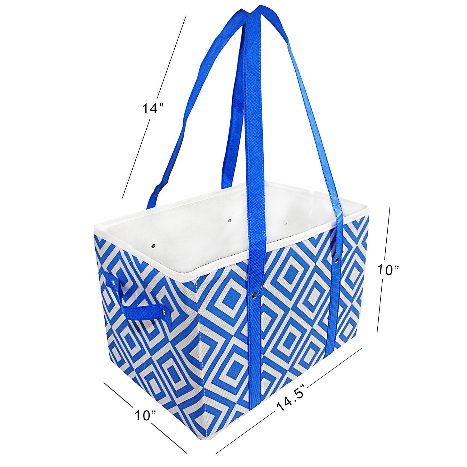 Hello Laura - Insulated Grocery Bag Box, Foldable Food Carrier Storage, Extra Large, Extra Durable, Hardened Bottom | 2 Pack Blue & Light Grey