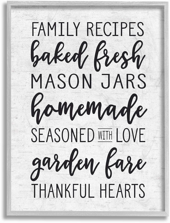 Stupell Industries Family Recipes Baked Fresh Garden Mason Jars Subtle Birch Typography Gray Framed Wall Art, 16 x 20, Multi-Color