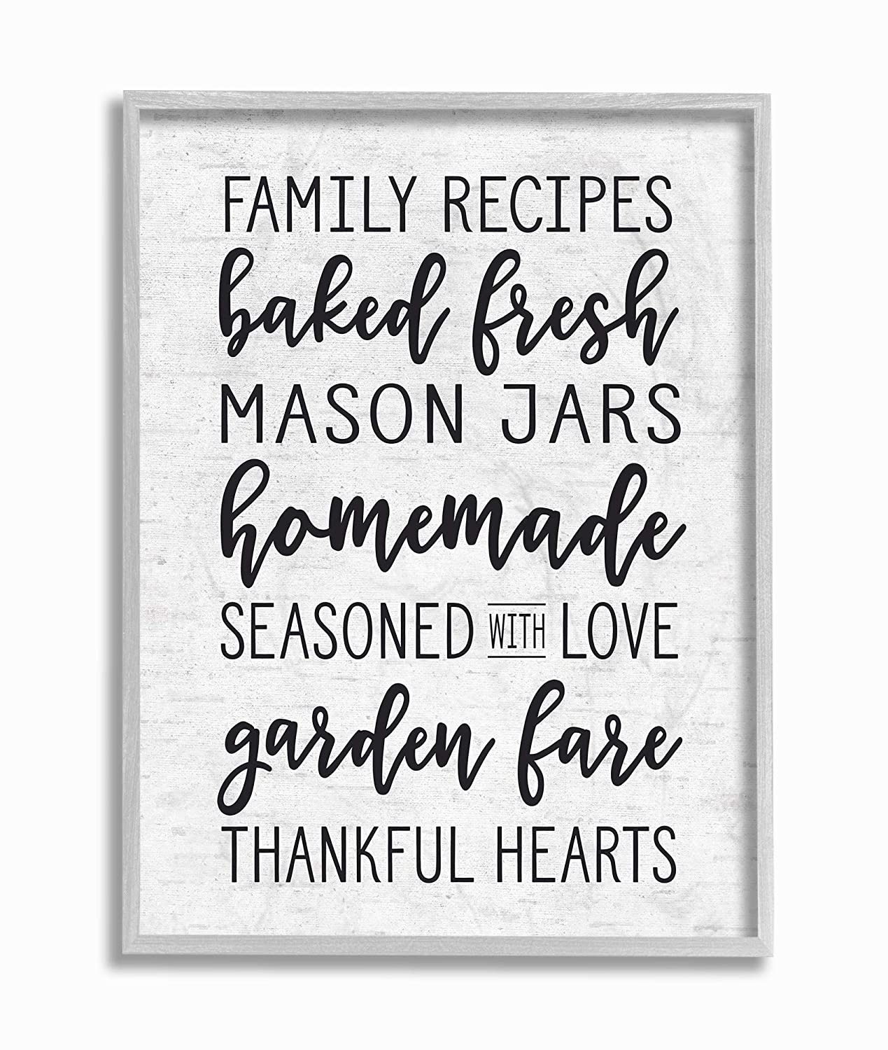 The Stupell Home Decor Collection Family Recipes Baked Fresh Garden Mason Jars Subtle Birch Typography Framed Giclee Texturized Art 11x14 Multi-Color