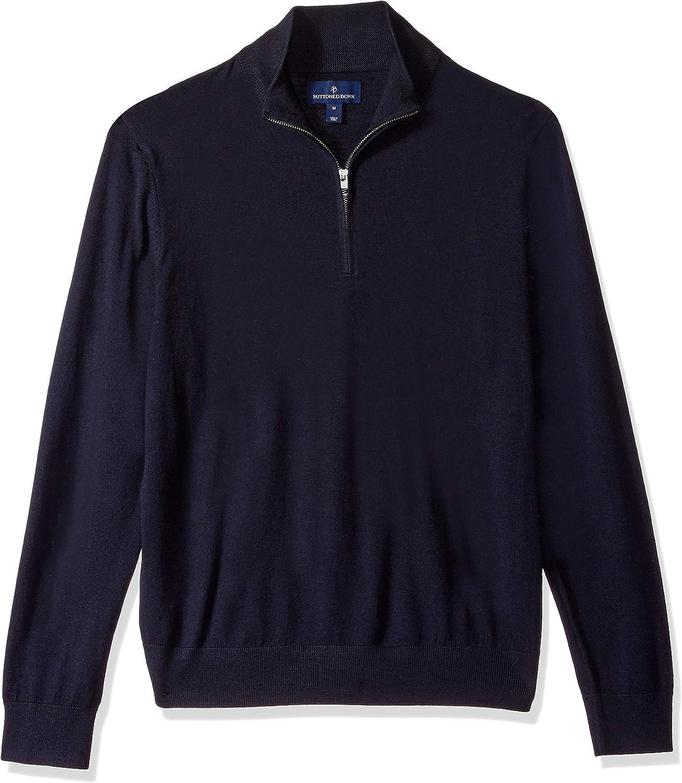 Amazon Brand - BUTTONED DOWN Men's Italian Merino Wool Lightweight Cashwool Quarter-Zip Sweater