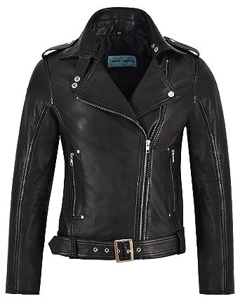 f8e1bc30 'BIKER GIRL' Ladies BLACK Rock Chick Style Designer Real Nappa Leather  Jacket (UK