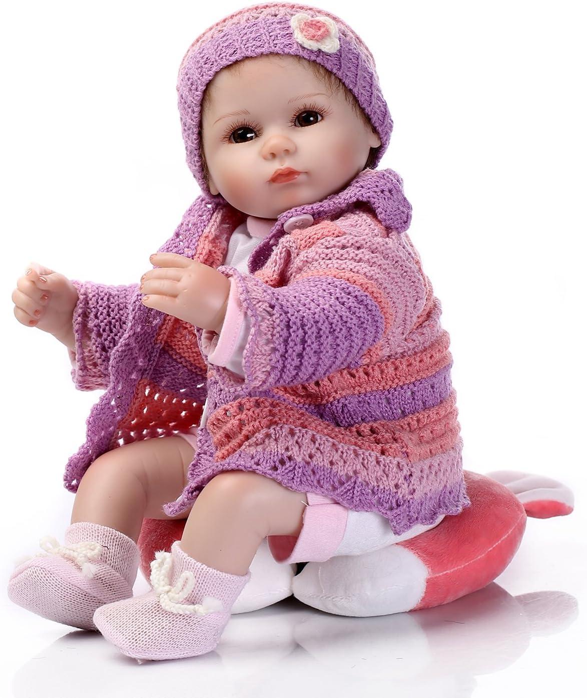 Pinky Reborn 18 Pulgadas 45cm Muñeca de Silicona Realista Reborn Baby Dolls en Tela Cuerpo Juguetes para niños Cumpleaños Traje de Tejer