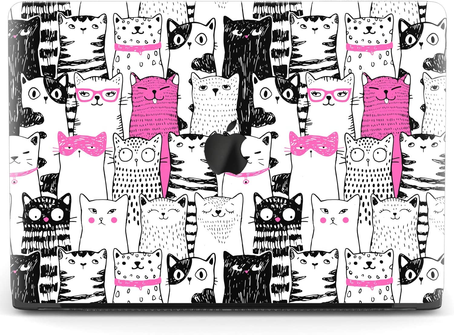 Mertak Hard Case for Apple MacBook Pro 16 Air 13 inch Mac 15 Retina 12 11 2020 2019 2018 2017 Print Clear Funny Protective Cats Sketch Drawing Plastic Cover Kitty Design Stylish Pink Touch Bar