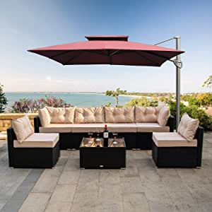 ALLME Fashion 7pcs Patio Outdoor Furniture Sets with Tea Table&Washable Couch Cushions,Low Back All-Weather Rattan Sectional Sofa Chair (c6)