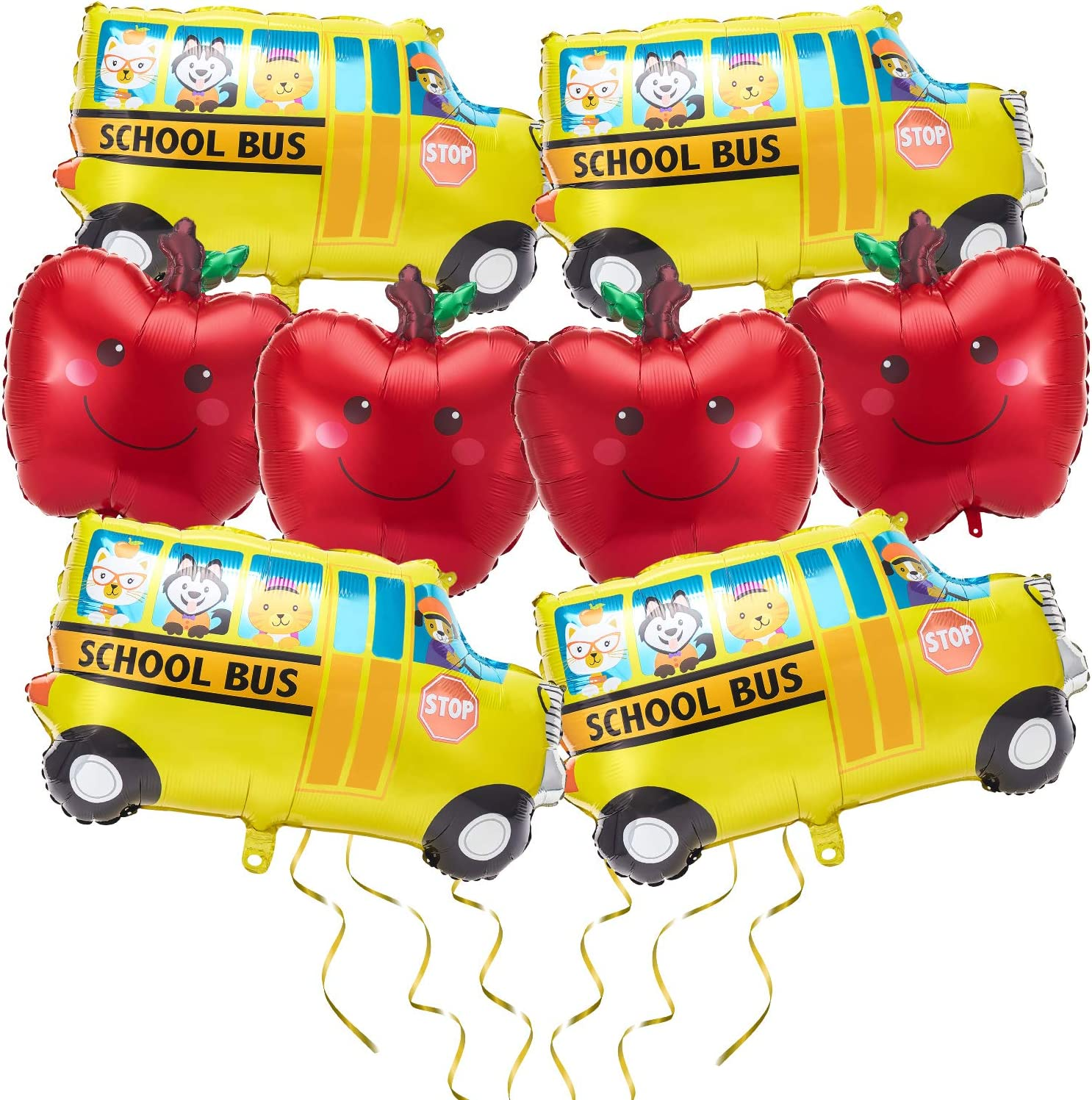 8 Pieces School Bus Foil Balloon Car Balloons and Red Fruit Balloons Party Decoration Large Size for Back to School Birthday Baby Shower Wedding