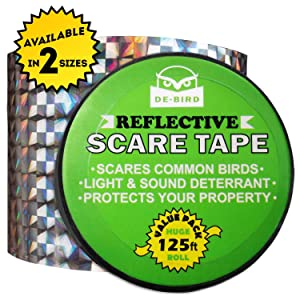 Bird Repellent Scare Tape- Simple Control Device to Keep Away Woodpeckers, Pigeons, Grackles and More. Deterrent Works Great with Netting and Spikes. Stops Damage, Roosting and Mess. Size(125ft roll)