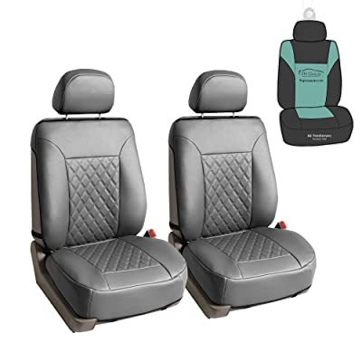 FH Group PU089102 Deluxe Faux Leather Diamond Pattern Car Seat Cushions (Gray) Front Set with Gift - Universal Fit for Cars, Trucks, SUVs: Automotive