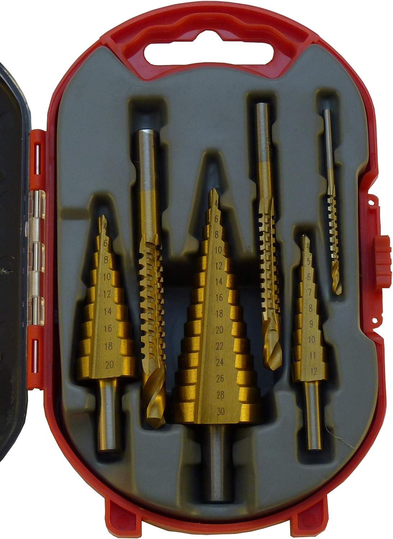 3tlg Schälbohrer HSS Bohrer Werkzeug Satz Stufenbohrer-set Kegelbohrer 4-30mm DE