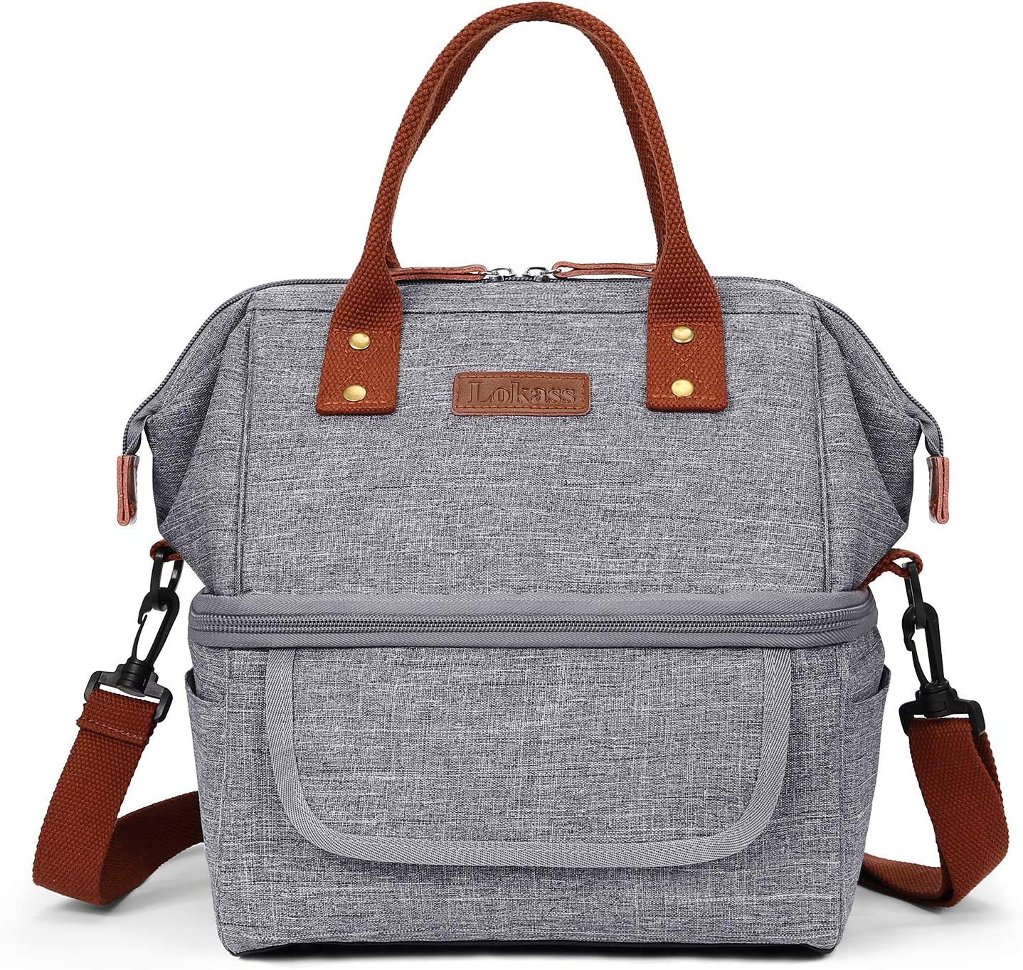 Lokass Double Deck Lunch Bags for Women, Lunch Box Wide Open Insulated Large Capacity Cooler Tote Bag With Removable Shoulder Strap Leakproof Lunch Organizer for Men/Adults/College/Work/Picnic(Gray)