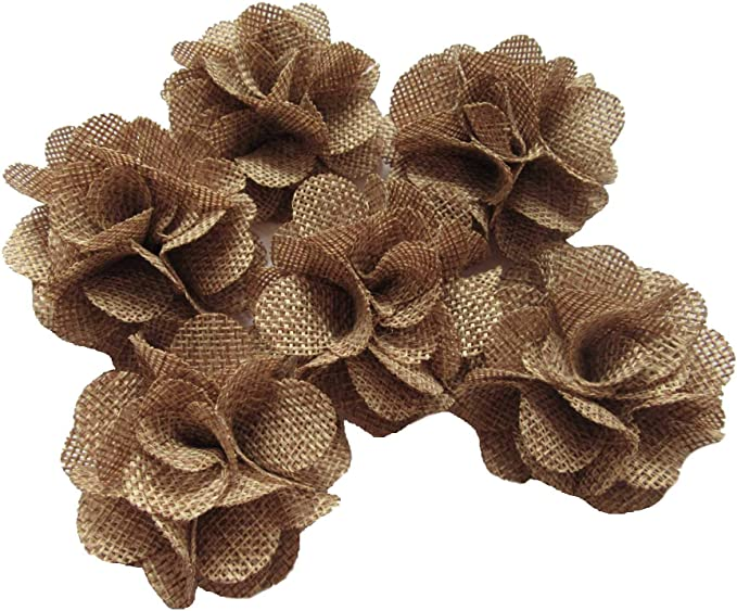 2.25,Hot Pink YYCRAFT 15pcs Burlap Flower Roses,3D Fabric Flowers for Headbands Hair Accessory DIY Crafts//Wedding Party Decorations//Scrapbooking Embellishments
