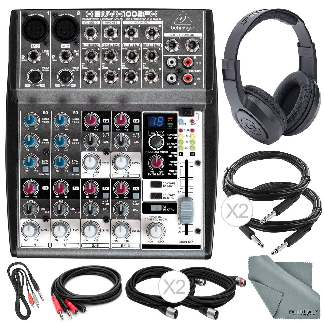 Photo Savings Behringer XENYX 1002FX 10-Channel Audio Mixer with Effects Processor and Accessory Bundle w/ 6X Cables + Headphones + Fibertique Cloth