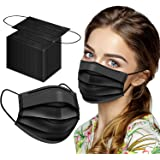 XDX 50 Pack Face Mask, Black Disposable Face Mask For Women Men, 3-Ply Breathable Adult Masks With Comfortable Earloops & Adj