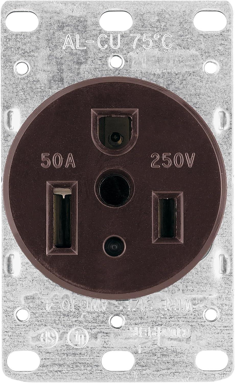 Eaton 1254 50-Amp 2-Pole 3-Wire 250-Volt Heavy Duty Grade Flush Mount on welder plug wiring, electric range plug wiring, nema 6 50 240 volt wiring, 220v wire 6 50r wiring,