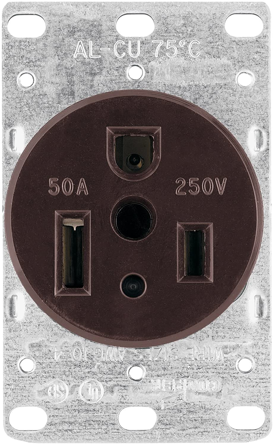 Eaton 1254 Box 50 Amp 2 Pole 3 Wire 250 Volt Heavy Duty Grade Flush Wiring A Outlet Mount Power Receptacle Brown Electric Plugs