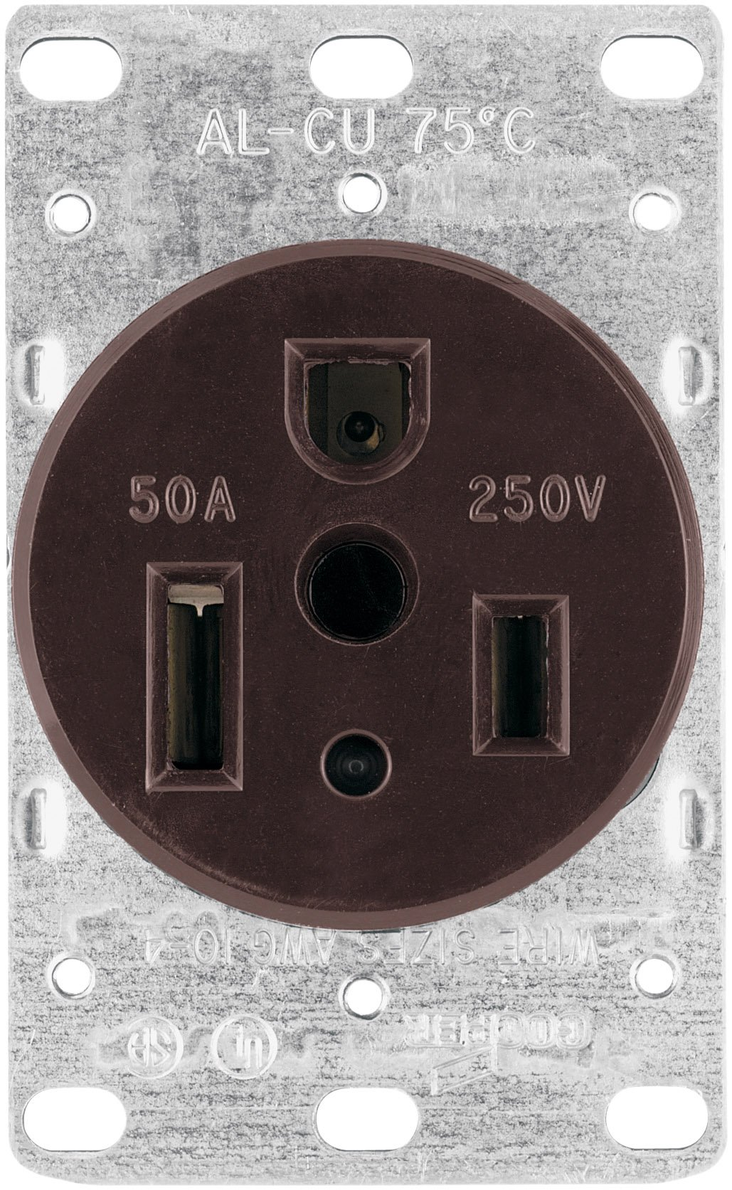 Eaton 1254-BOX 50-Amp 2-Pole 3-Wire 250-Volt Heavy Duty Grade Flush Mount Power Receptacle, Brown