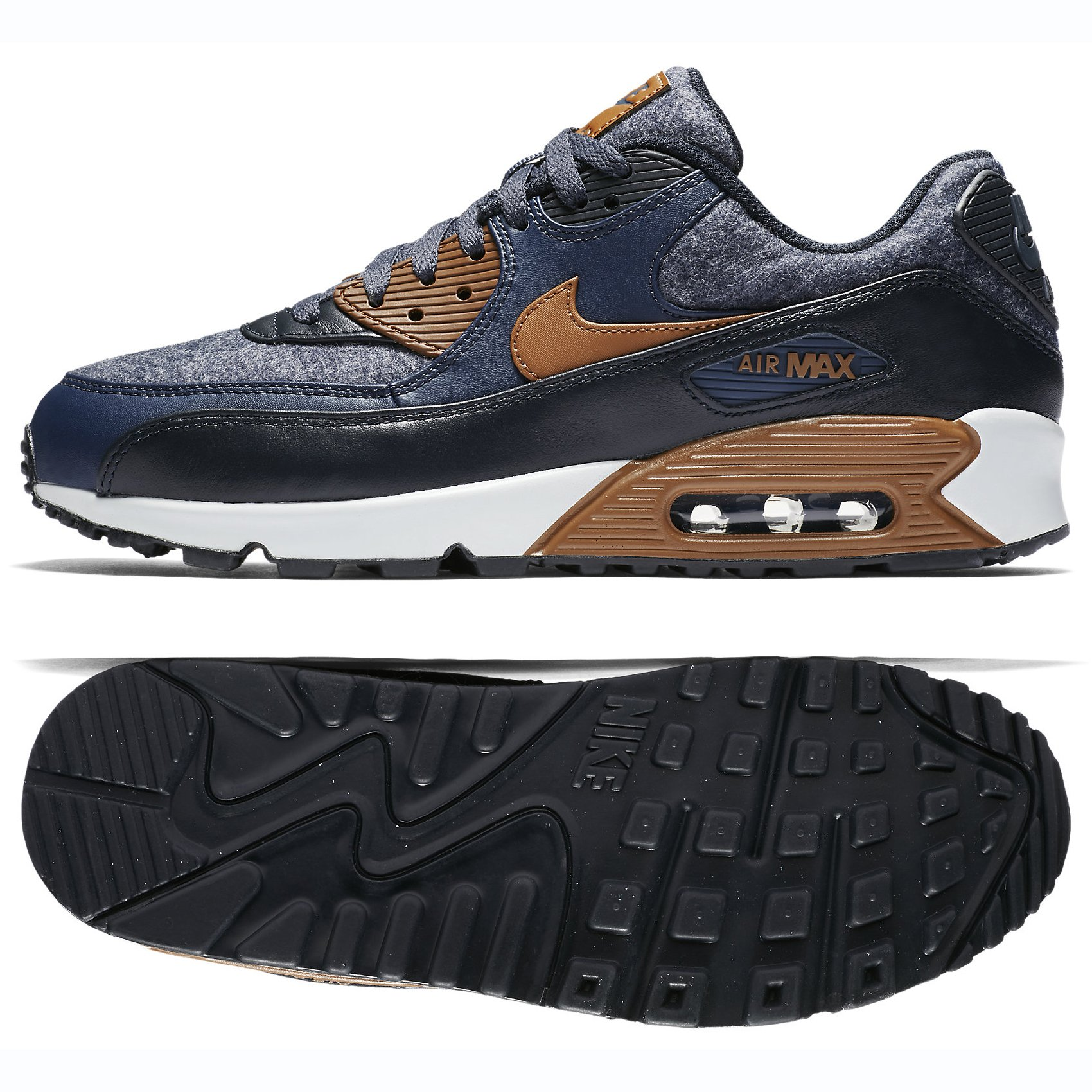 new concept 221c2 7f807 Galleon - Nike Mens Air Max 90 Premium Wool Pack Shoes Thunder Blue Ale  Brown Obsidian 700155-404 Size 8.5