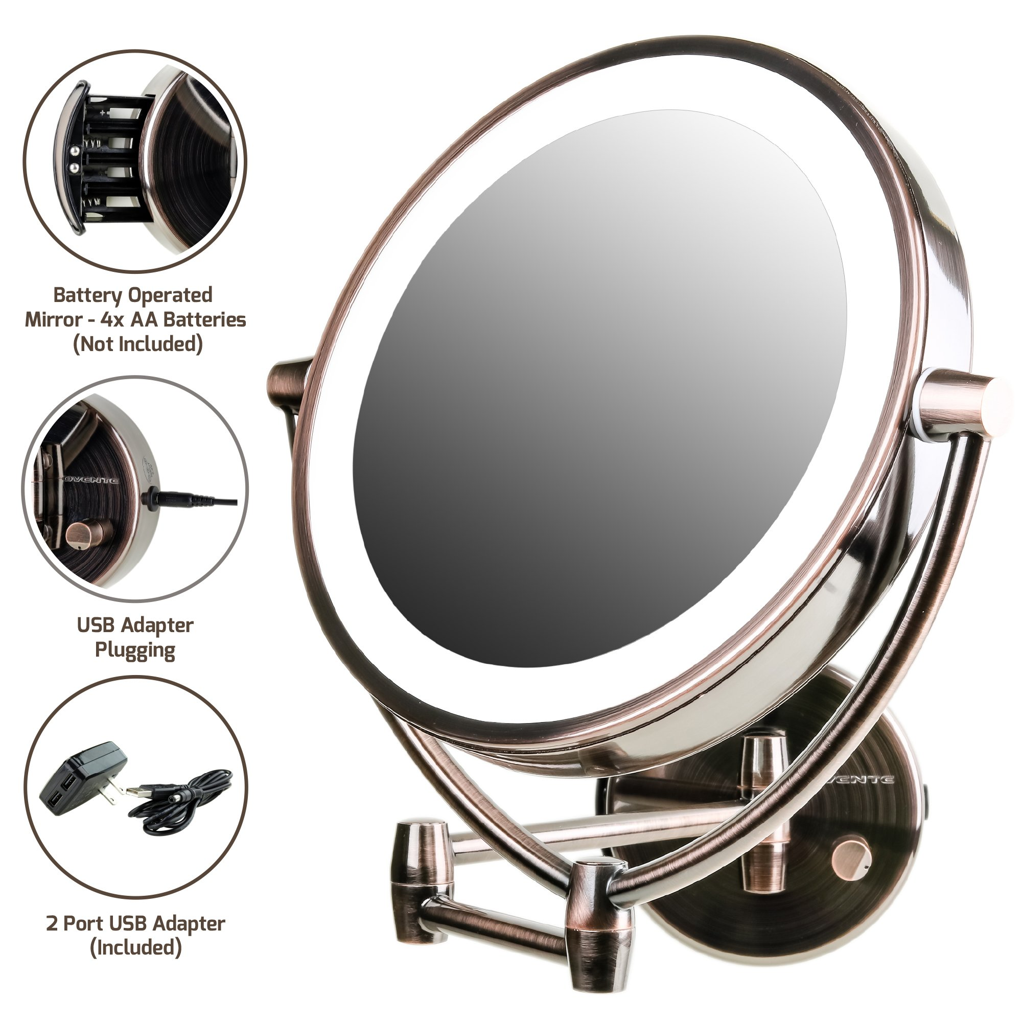 Amazon Com Ovente Wall Mount Led Lighted Makeup Mirror