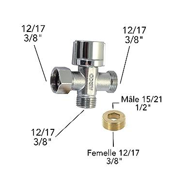 robinet darrt 3 voies douchette wc adaptateur de raccord