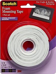 Scotch Brand 051131762718 Scotch Foam Mounting Tape, 1/2-inch x 150-inches, White, 1-Roll (4013), Clear