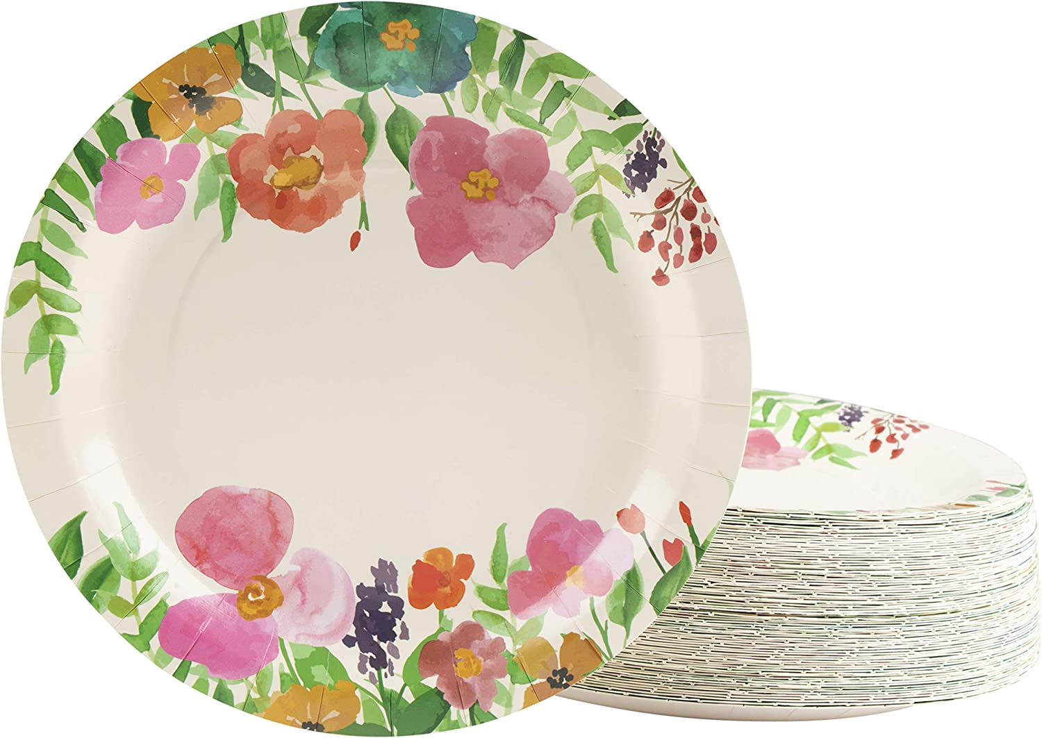 Floral Paper Plates, Watercolor Flowers (9 in., 80 Pack)