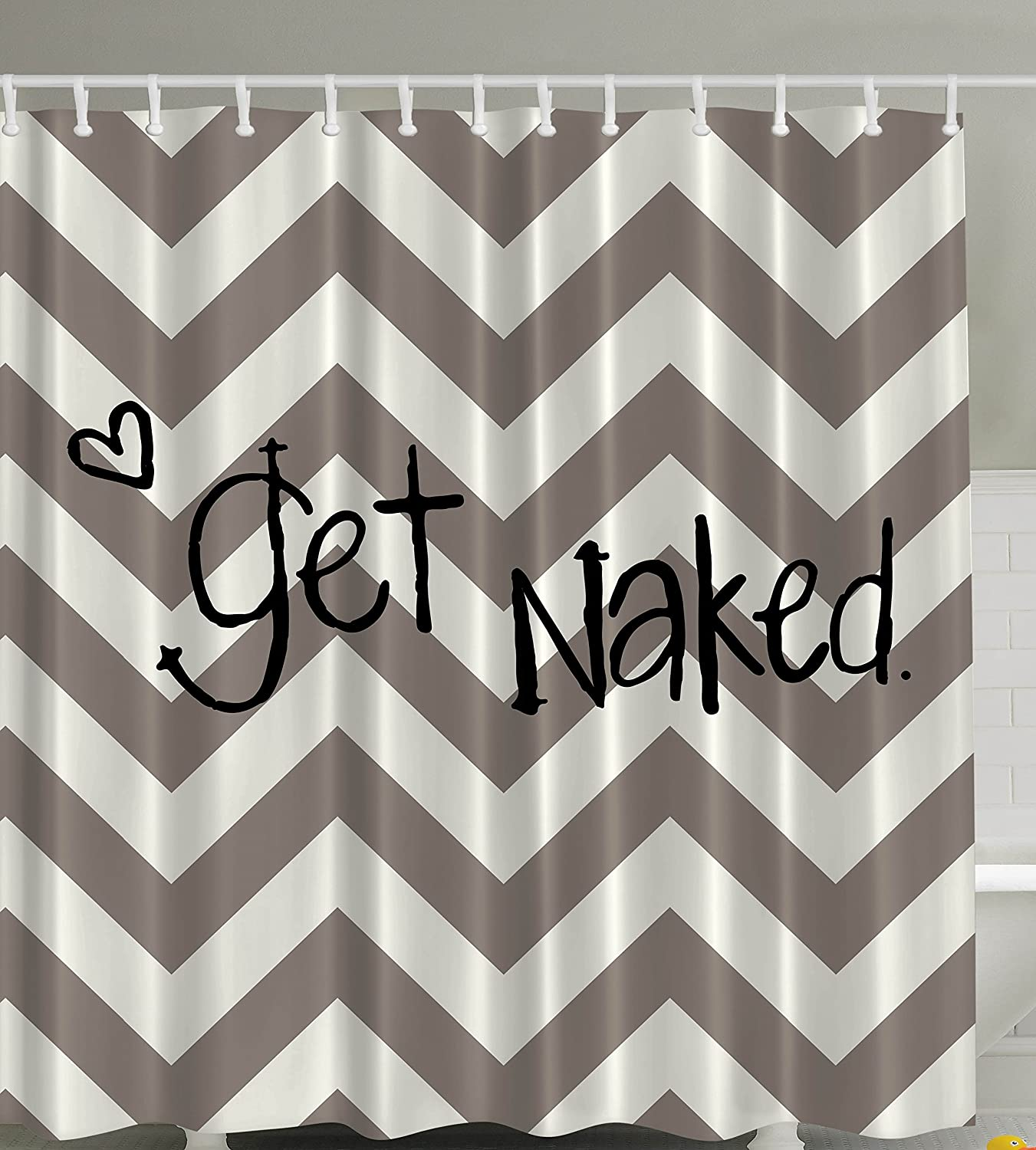 Amazon.com: Funny Quotes Chevron Shower Curtain Apartment Art Decor By  Ambesonne, Get Naked Sexy Symbol Of Love Geometric Zig Zag Theme With Heart  Design ...