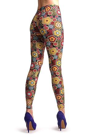804dd2fac5477 Happy Hippie Flowers - Multicoloured Designer Leggings: Amazon.co.uk:  Clothing