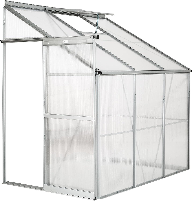 TecTake Invernadero de jardín policarbonato Transparente Aluminio casero Plantas Cultivos 4,09m³ - Varios Modelos - (192x128x202 cm | no. 402470)