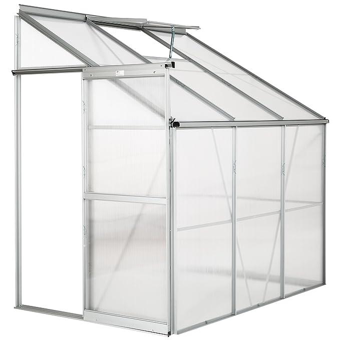 TecTake Invernadero de jardín policarbonato transparente aluminio casero plantas cultivos 4, 09m³ - varios modelos - (192x128x202 cm | no.