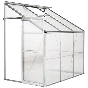 TecTake Invernadero de jardín policarbonato transparente aluminio casero plantas cultivos 4,09m³ - varios modelos