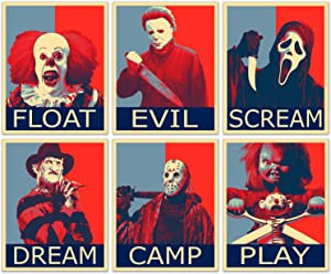 Horror Movie Villain Hope Posters - Set of 6 (8 inches x 10 inches) Pictures - Pennywise Jason Voorhees Michael Myers Freddy Krueger Ghostface Chucky
